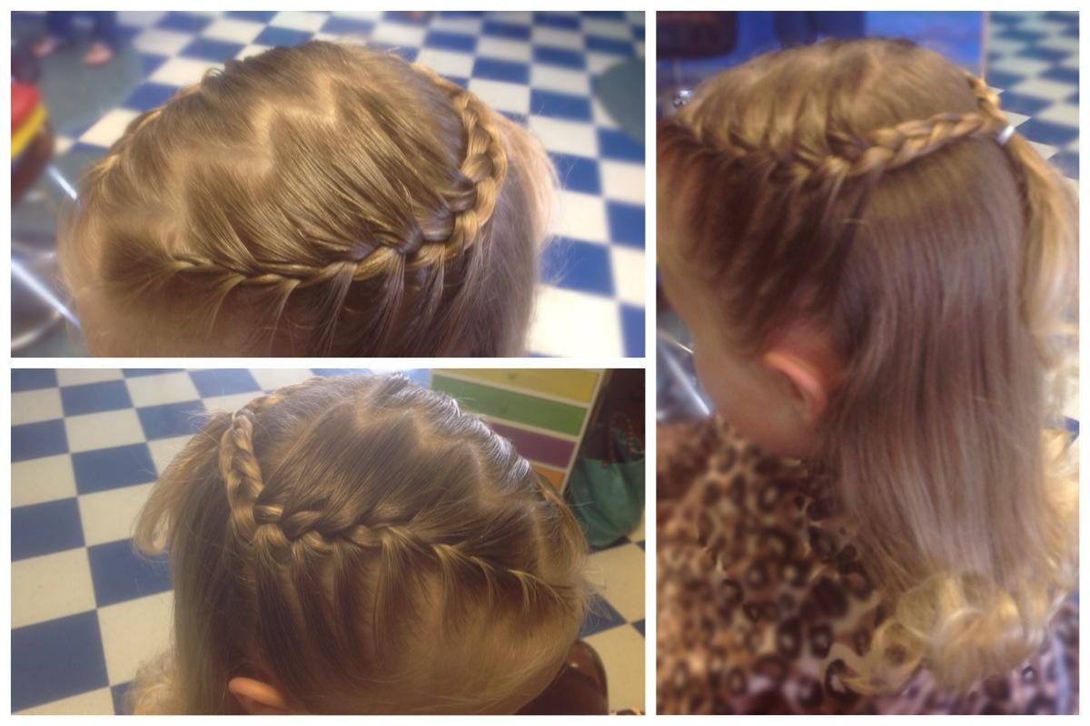 Half braids w/ zig,zag part